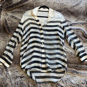 Equipment Femme Black & Ivory Stripe Blouse XS